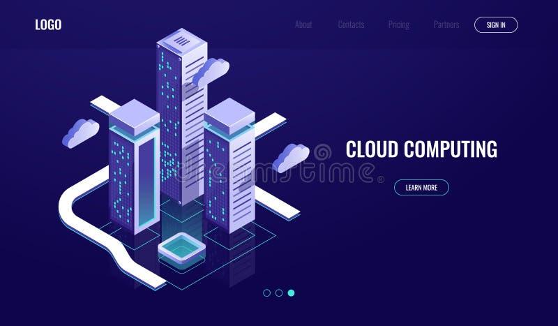 Nuvem que computa, conceito isométrico do armazenamento de dados da nuvem, cidade urbana digital moderna, estrada dos dados, indú ilustração do vetor