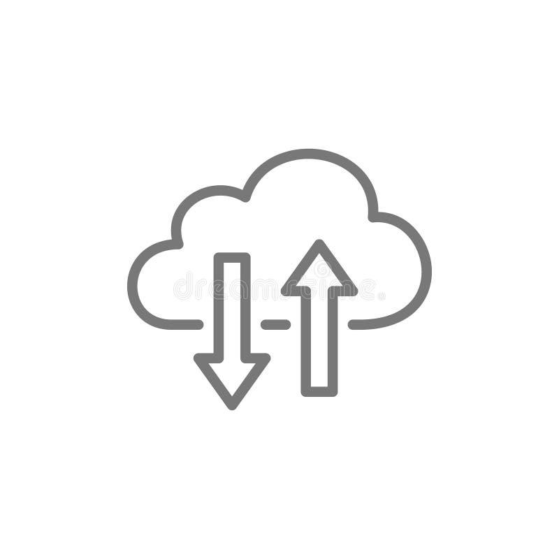 Nuvem que computa, linha de transfer?ncia ?cone dos dados ilustração stock