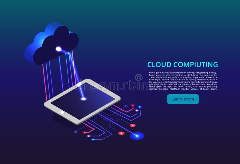 Nuvem que computa o armazenamento em linha baixo poli Tecnologia moderna futura poligonal do negócio do Internet Tecnologia da nu ilustração do vetor