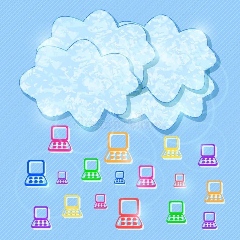 Nuvem que computa o fundo móvel do conceito ilustração stock
