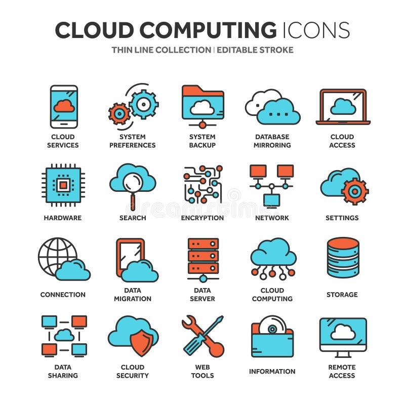 Nuvem que omputing Tecnologia do Internet Serviços onlines Dados, segurança da informação conexão Linha fina ícone azul da Web ilustração royalty free