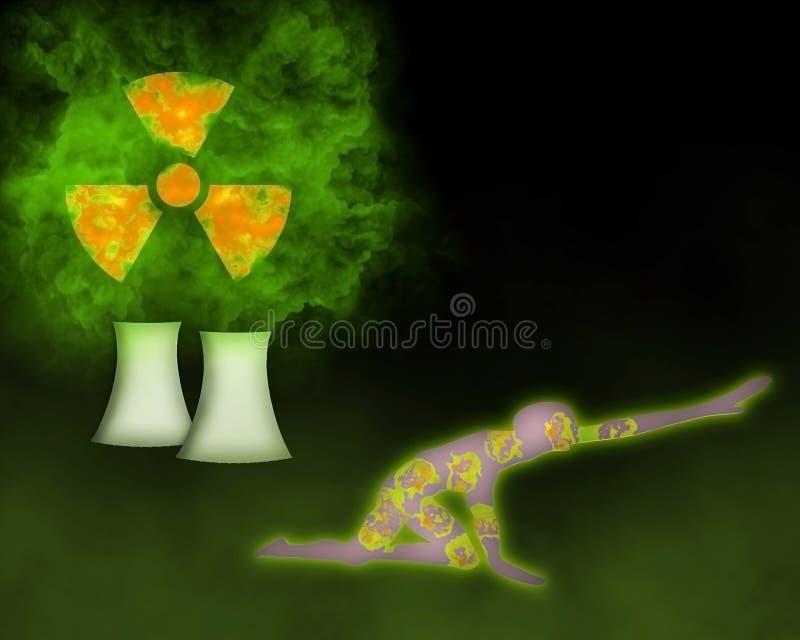 Nuvem radioativa que vem do reator nuclear e de p contaminado ilustração do vetor