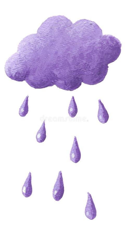 Nuvem roxa e chuva roxa ilustração stock