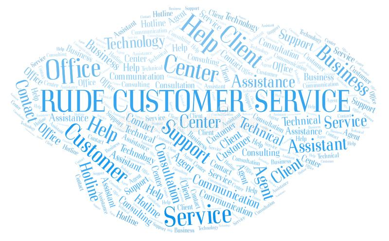 Nuvem rude da palavra de serviço ao cliente ilustração stock