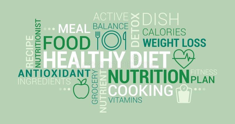 Nuvem saudável da etiqueta comer e de dieta ilustração royalty free