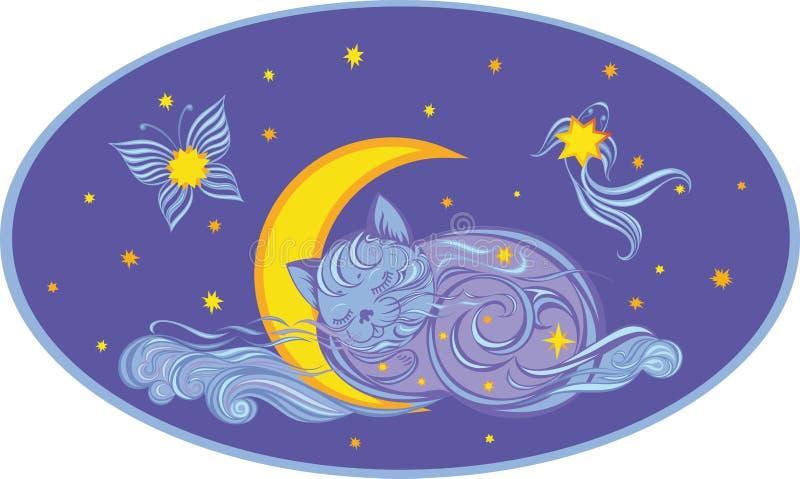 Nuvem sob a forma de um gatinho do sono por um m?s ilustração stock