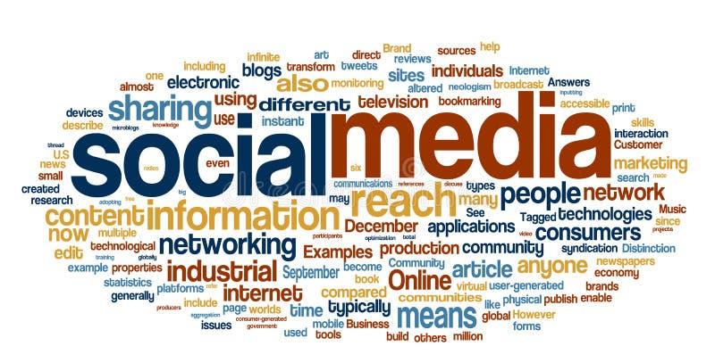 Nuvem social da palavra dos media ilustração do vetor