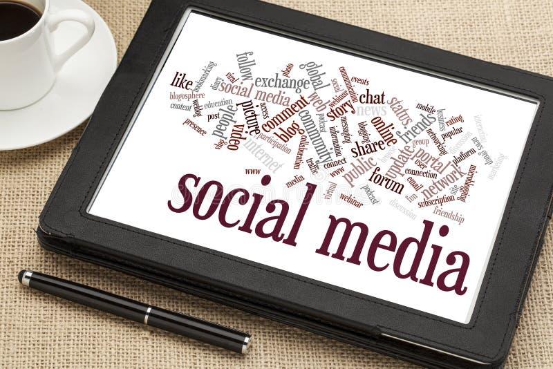Nuvem social da palavra dos meios fotos de stock