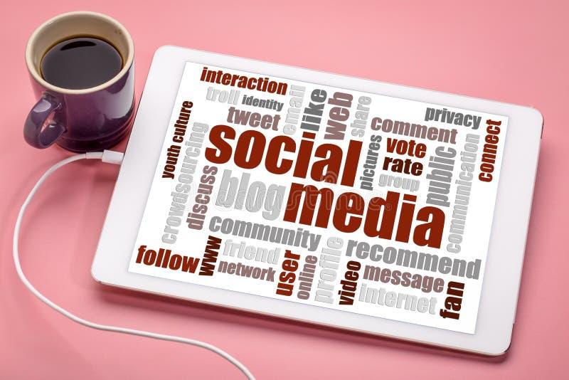 Nuvem social da palavra dos meios e dos trabalhos em rede fotos de stock royalty free