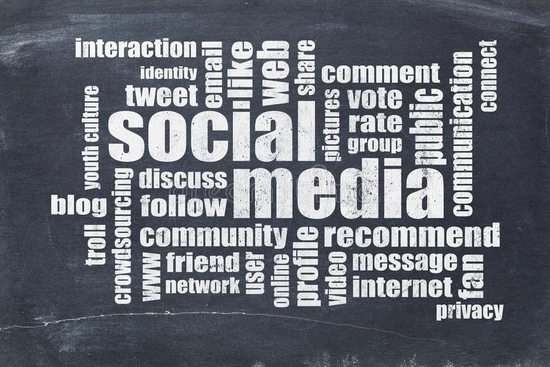 Nuvem social da palavra dos meios no quadro-negro foto de stock royalty free