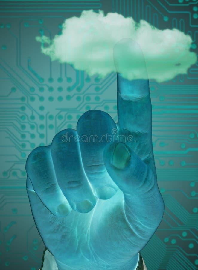 Nuvem tocante do dedo foto de stock royalty free