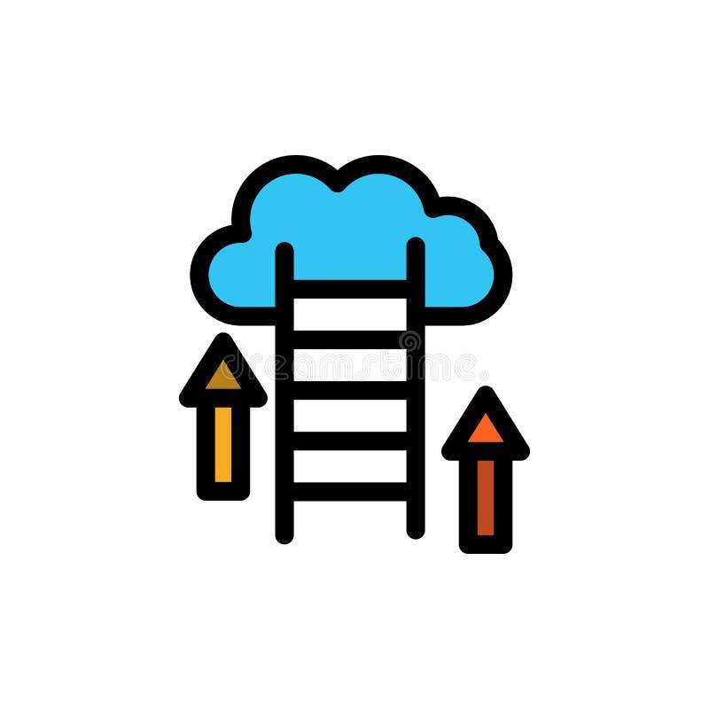 Nuvem, transferência, transferência de arquivo pela rede, dados, ícone liso da cor do servidor Molde da bandeira do ícone do veto ilustração do vetor