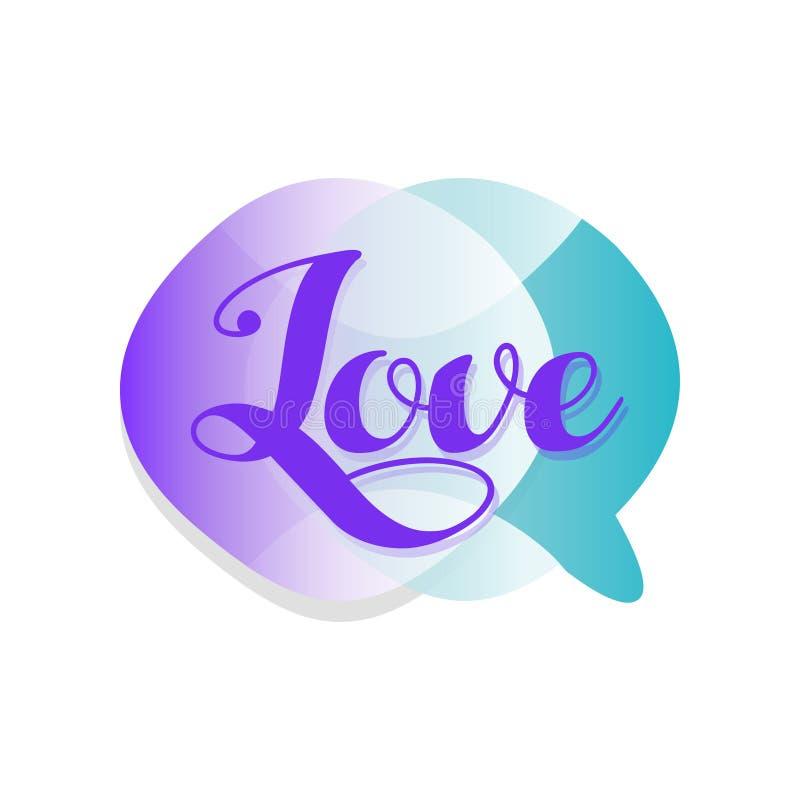 Nuvem transparente criativa da bolha do discurso com amor da palavra Ícone com inclinação Mensagem bonito e romântica Projeto do  ilustração do vetor