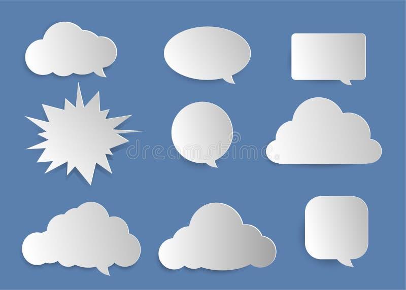 Nuvens, bolhas para o texto entrando ilustração do vetor