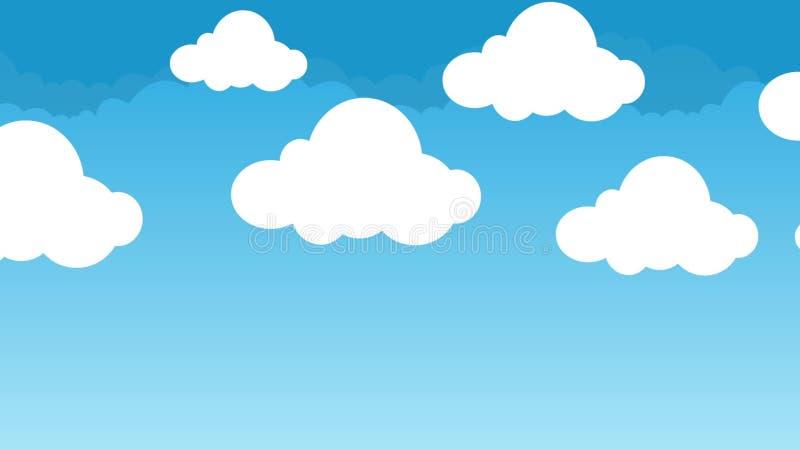 Nuvens Bonitos E Inchado Dos Desenhos Animados Que Pairam Em Um