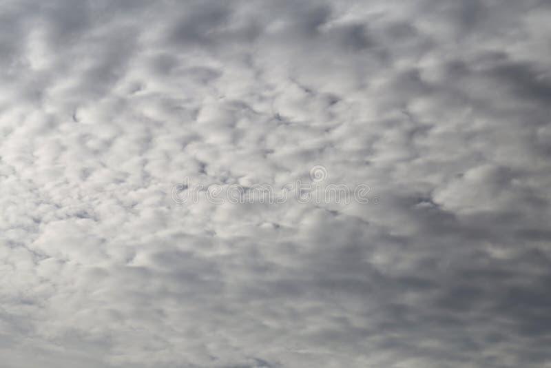 Nuvens brancas e cinzentas bonitas que cobrem o c?u fotografia de stock