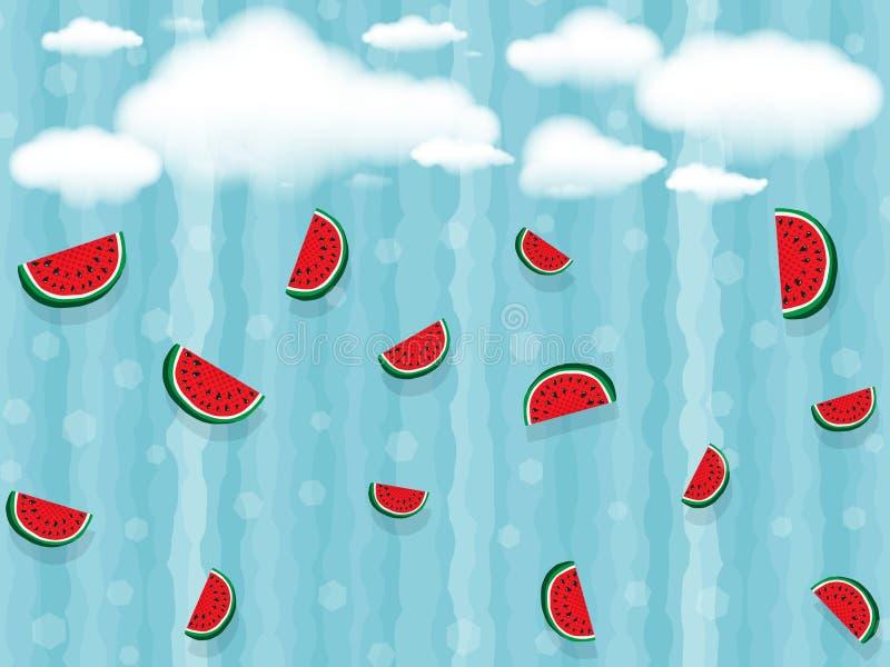 Nuvens brancas e muitas fatias de queda de partes da melancia no fundo de tiras onduladas verticais da cor azul, bokeh ilustração do vetor