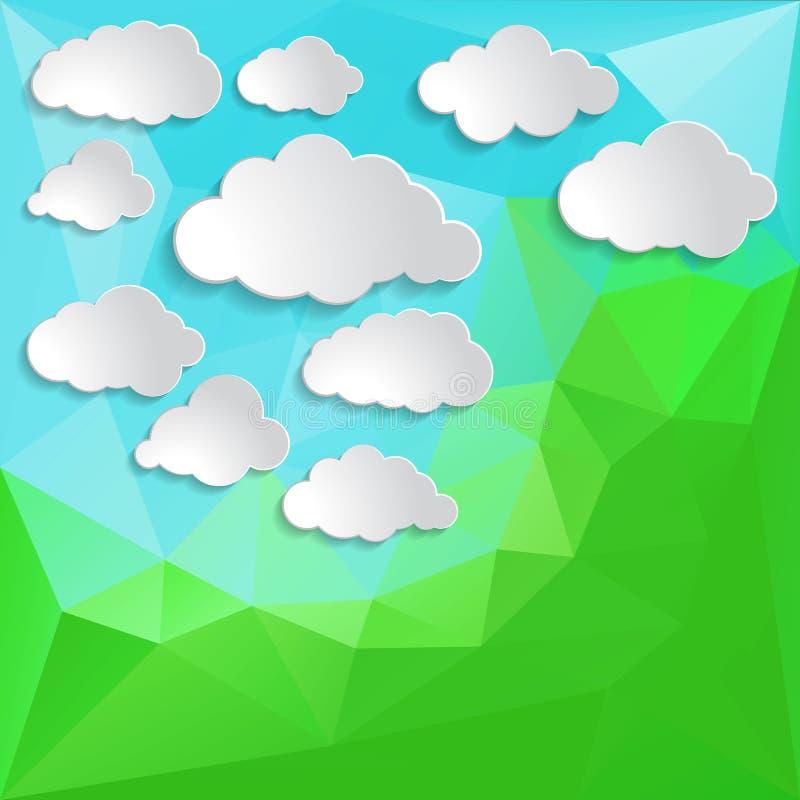 Nuvens brancas em uma parte traseira poligonal do triângulo abstrato verde ilustração stock