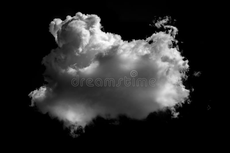 Nuvens brancas isoladas no fundo preto imagens de stock royalty free
