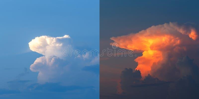 Nuvens céu com as nuvens antes e durante o por do sol imagem de stock
