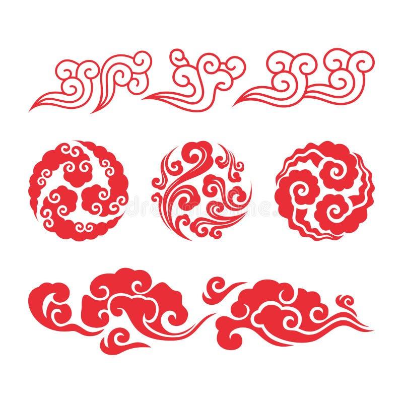 Nuvens chinesas Grupo asiático da nuvem do redemoinho ilustração do vetor