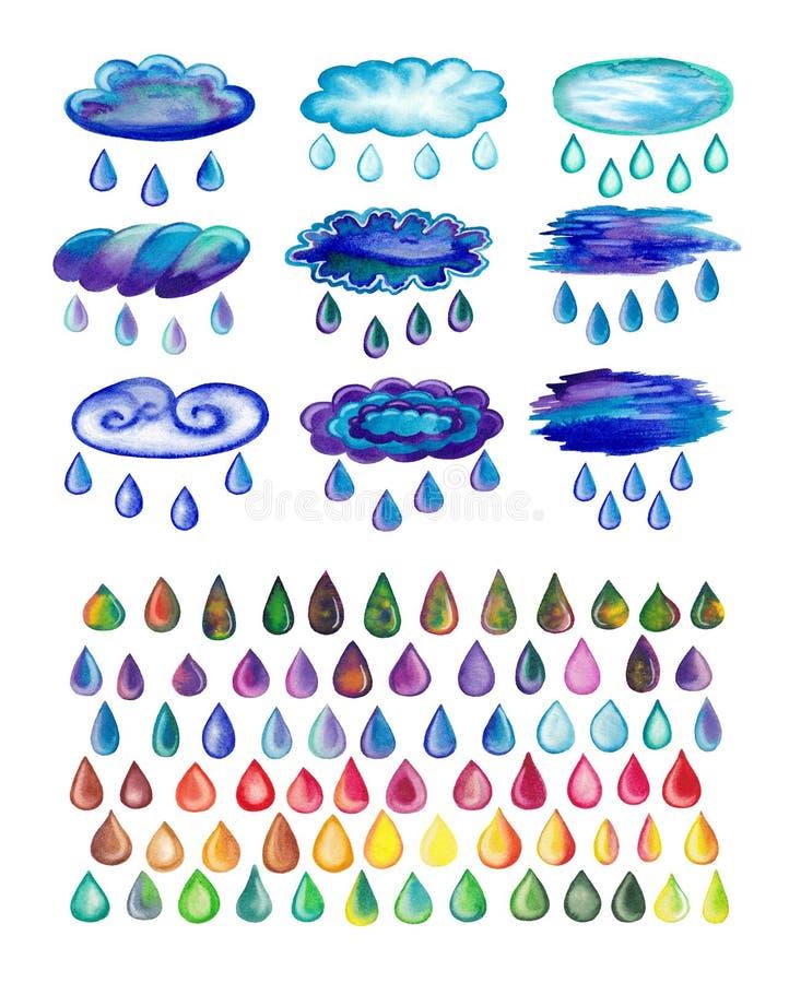 Nuvens chuvosas pintadas aquarela e gotas ilustração royalty free
