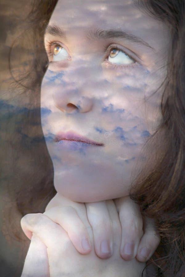 Nuvens com face imagens de stock royalty free