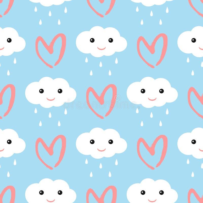 Nuvens com uma cara de sorriso e os pingos de chuva O coração tirado à mão escova cursos Teste padrão sem emenda bonito ilustração royalty free