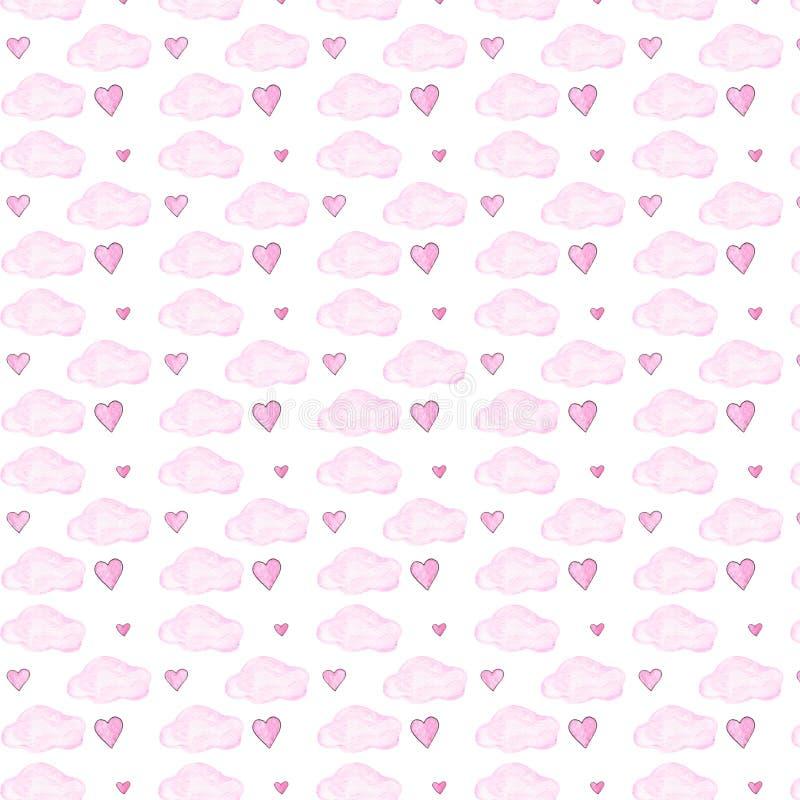 Nuvens cor-de-rosa e teste padrão seamlless da aquarela dos corações no fundo branco ilustração do vetor