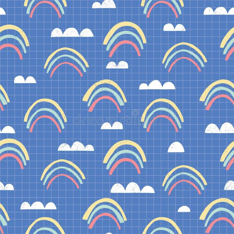 Nuvens cortadas lunáticas do arco-íris no teste padrão sem emenda esquadrado do vetor do fundo Textura do berçário Papel do cader ilustração royalty free