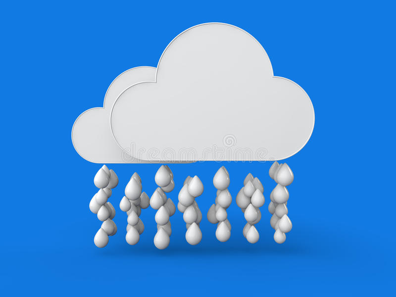 nuvens 3d e gotas da chuva ilustração stock