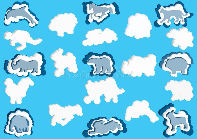 nuvens 3D sob a forma do animais Vector a cor azul e branca da nuvem dos ícones em um fundo azul ilustração stock