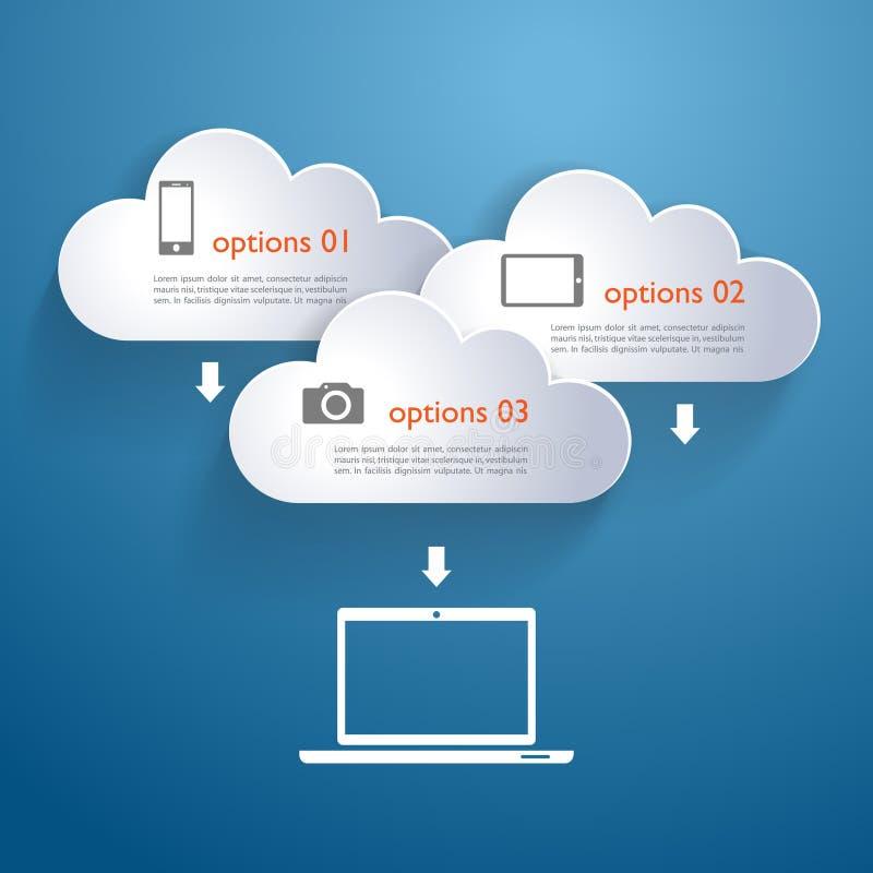 Nuvens da rede com elementos e ícones infographic ilustração stock