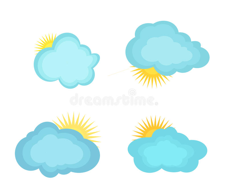 Nuvens das ilustrações do vetor e o sol ilustração stock