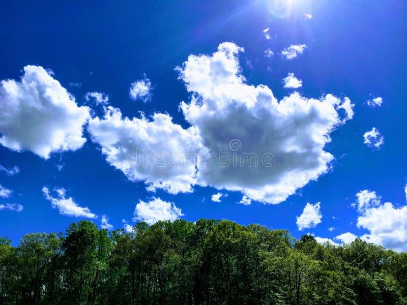 Nuvens de derivação no céu azul brilhante fotografia de stock royalty free