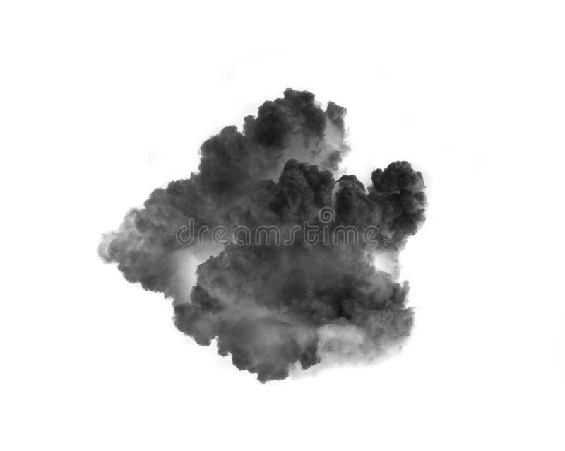 Nuvens de fumo pretas sobre o fundo branco fotos de stock