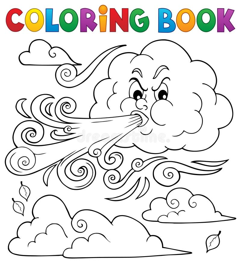 Nuvens de livros de coloração e tema do vento 1 ilustração royalty free