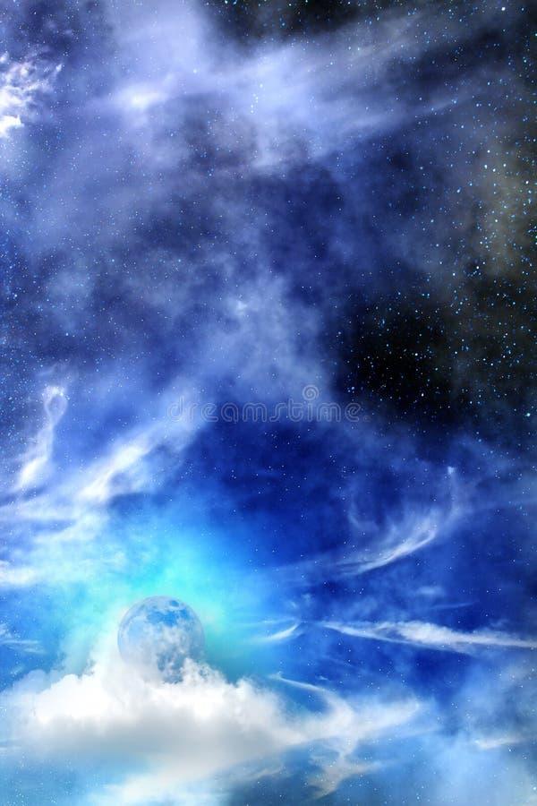 Nuvens de noite do céu da lua ilustração royalty free