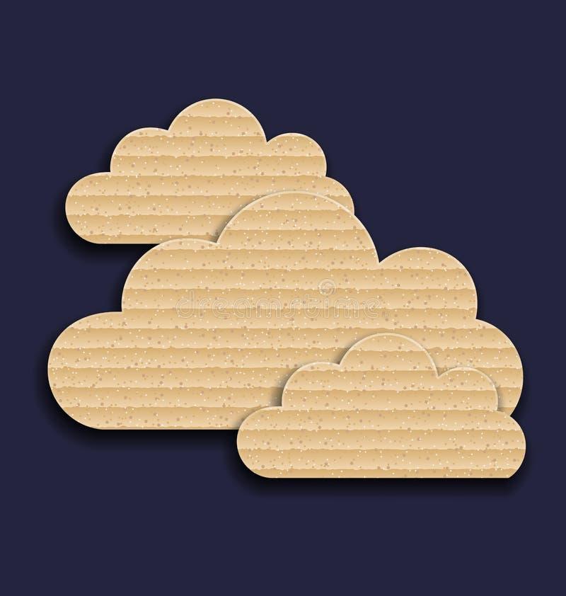 Nuvens de papel da caixa isoladas no fundo escuro ilustração royalty free