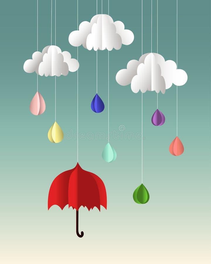 Nuvens de papel, gotas e guarda-chuva do vetor ilustração stock