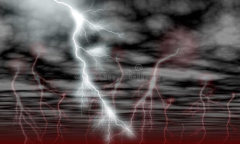 Nuvens do céu e relâmpago da tempestade ilustração stock