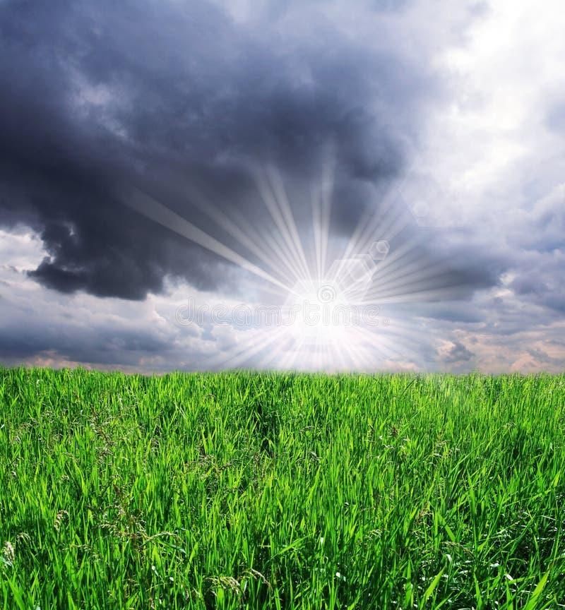 Nuvens do campo e de tempestade imagem de stock