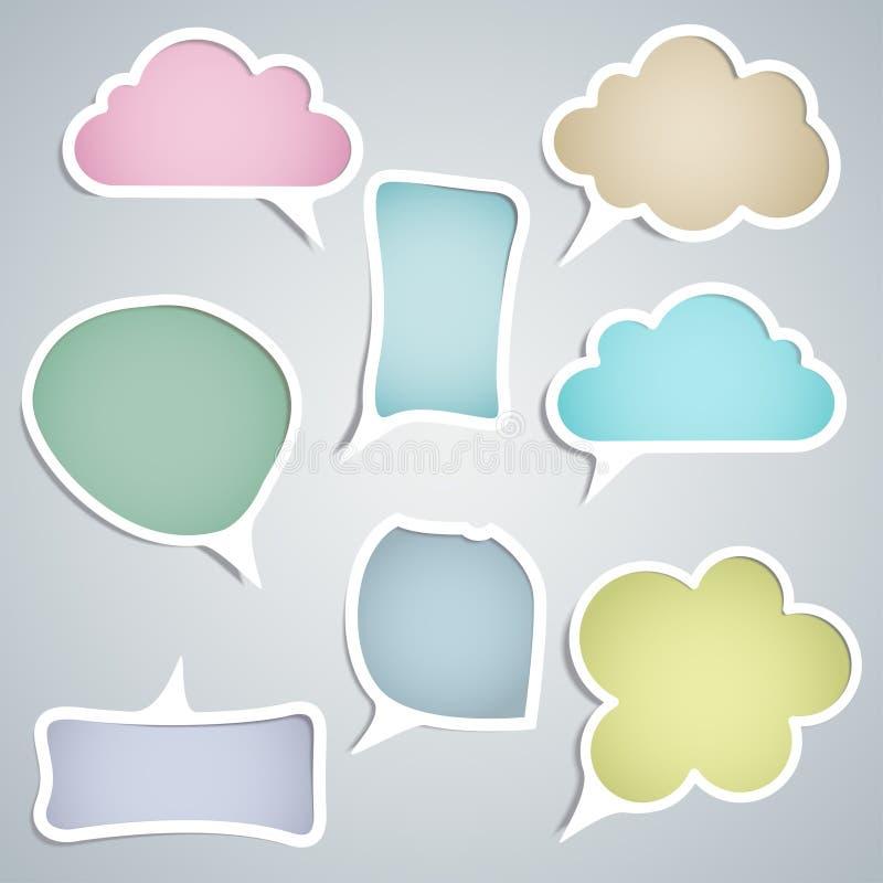 Nuvens do discurso de configurações diferentes ilustração stock
