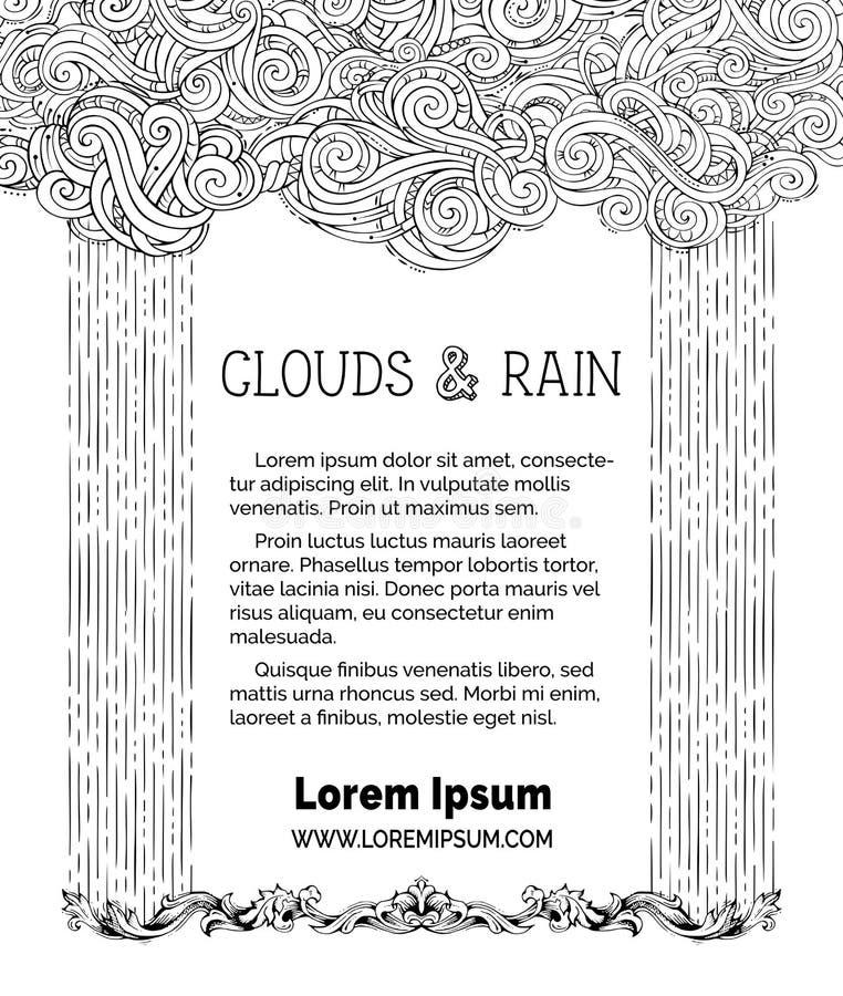Nuvens do vetor e fundo da chuva ilustração royalty free