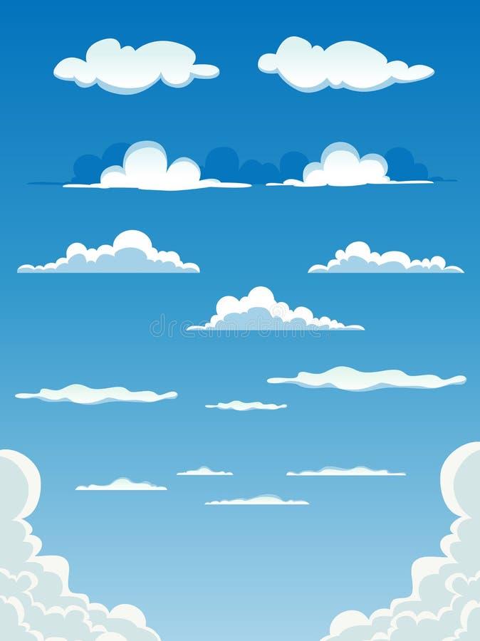 Nuvens dos desenhos animados ajustadas ilustração royalty free