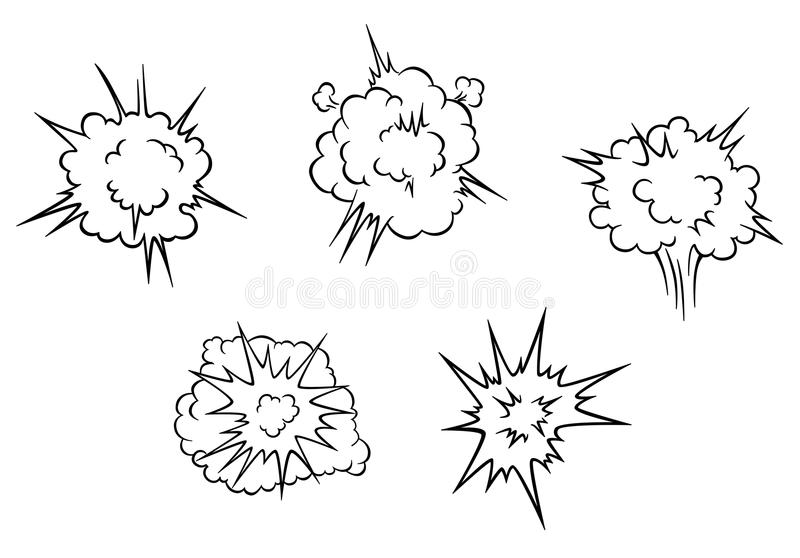 Nuvens dos desenhos animados da explosão ilustração royalty free
