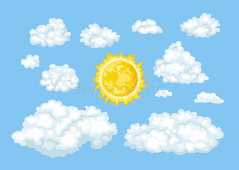 Nuvens dos desenhos animados de formas e do grupo diferentes do sol Céu azul loudy do ¡ de Ð ilustração stock