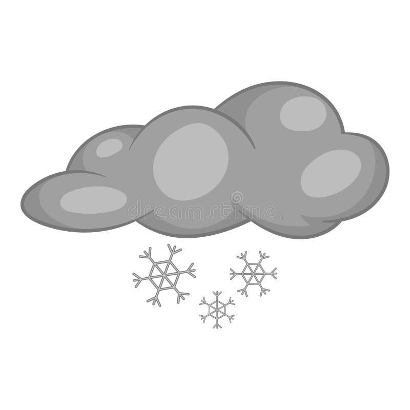 Nuvens e ícone da neve, estilo monocromático preto ilustração stock