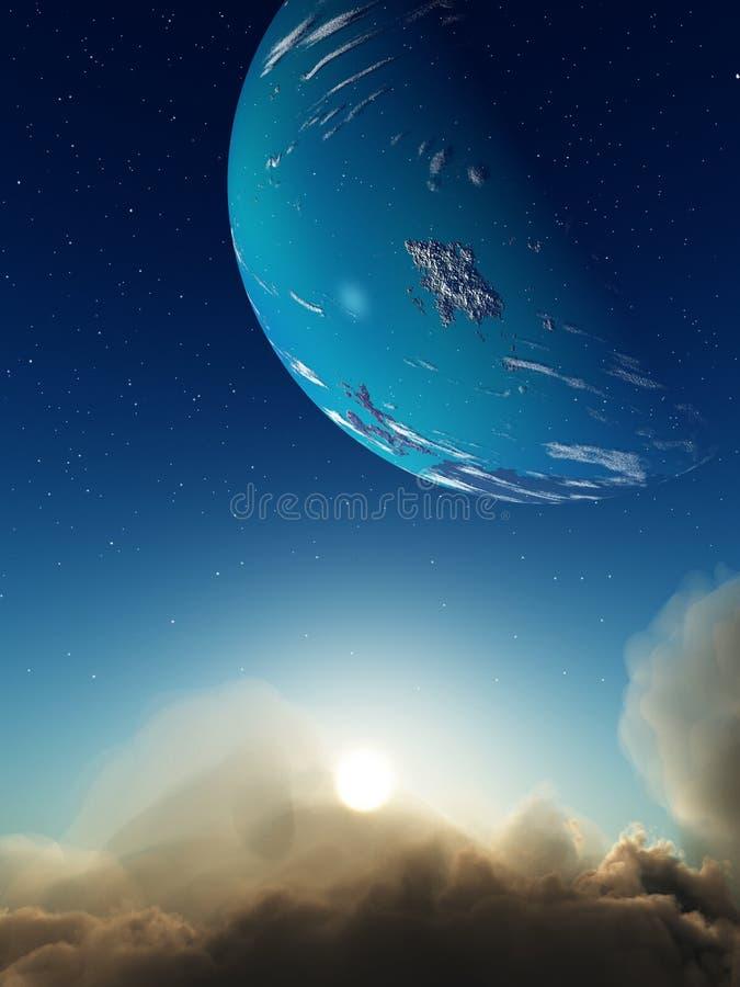 Nuvens e espaço ilustração do vetor