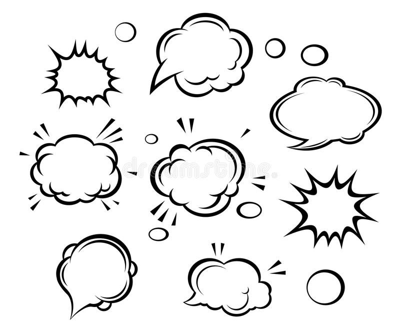 Nuvens e explosões dos desenhos animados ilustração royalty free